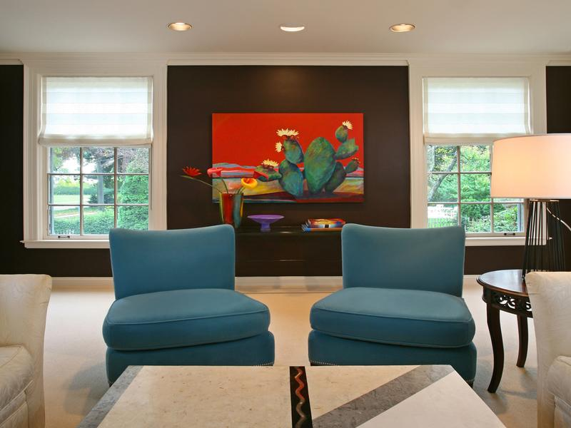 Coral Teal And Brown Living Room