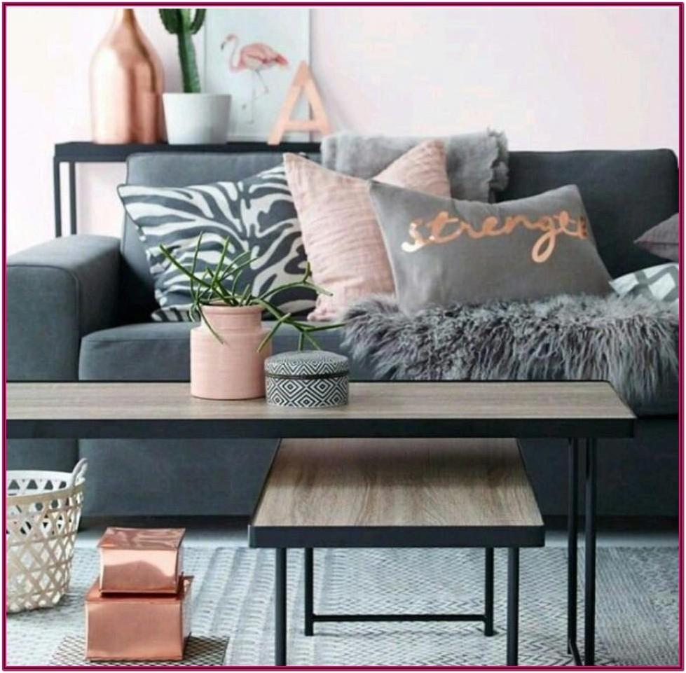 Dark Grey And Rose Gold Living Room