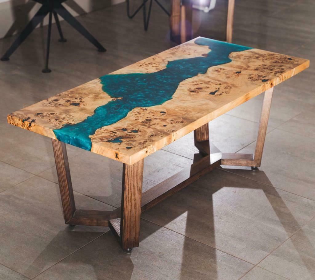 Epoxy Live Edge Dining Room Table