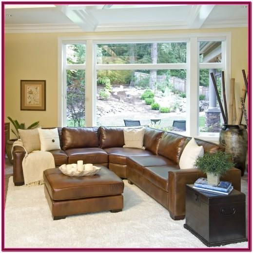Farmhouse Brown Leather Couch Living Room
