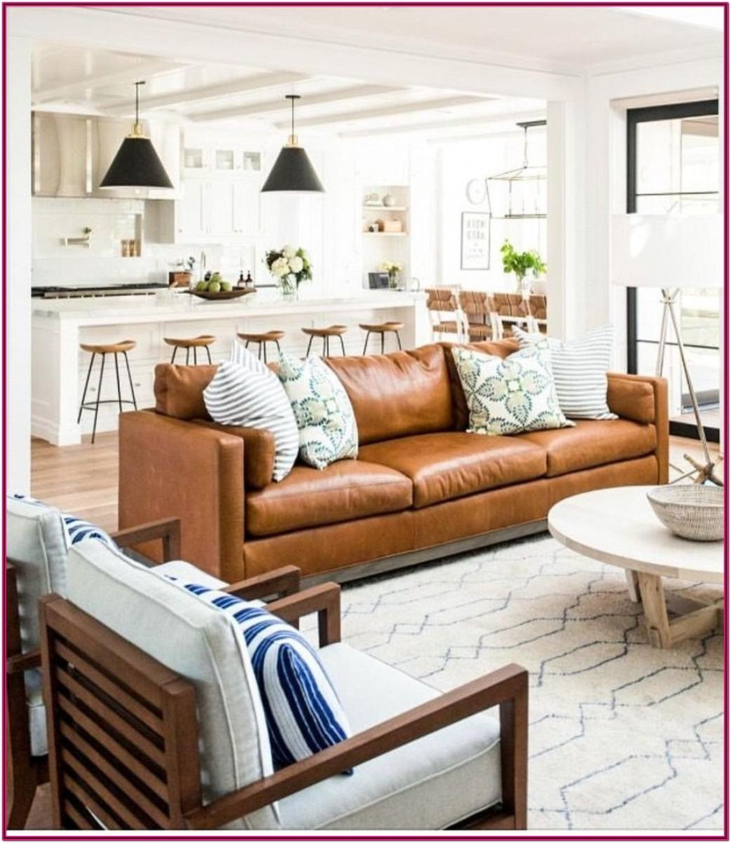 Farmhouse Living Room Ideas With Brown Couch