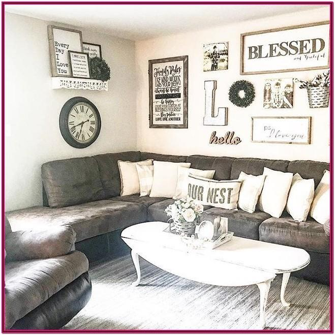 Farmhouse Living Room With Dark Brown Couch