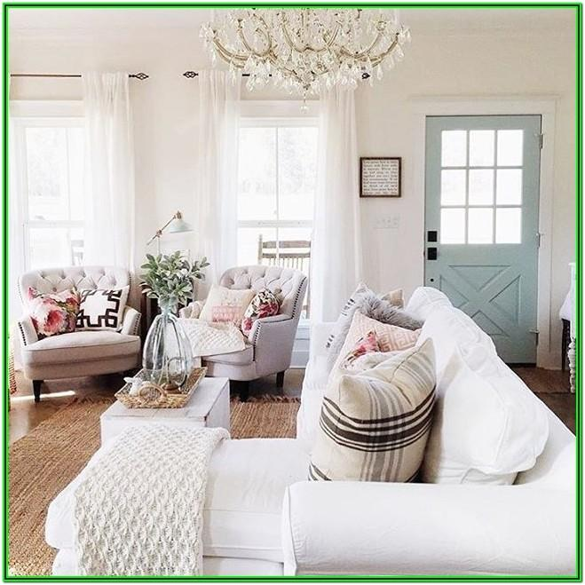 Farmhouse White Curtains Living Room
