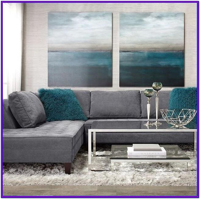Gray Teal And Black Living Room