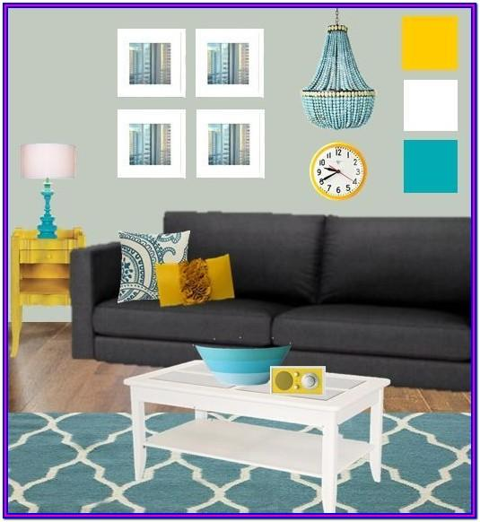 Gray Teal Yellow Living Room