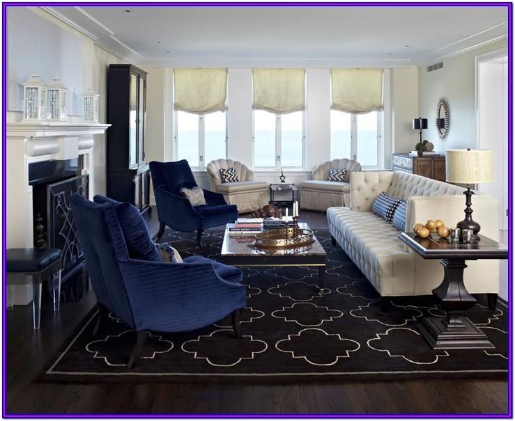 Grey Blue Gold Living Room