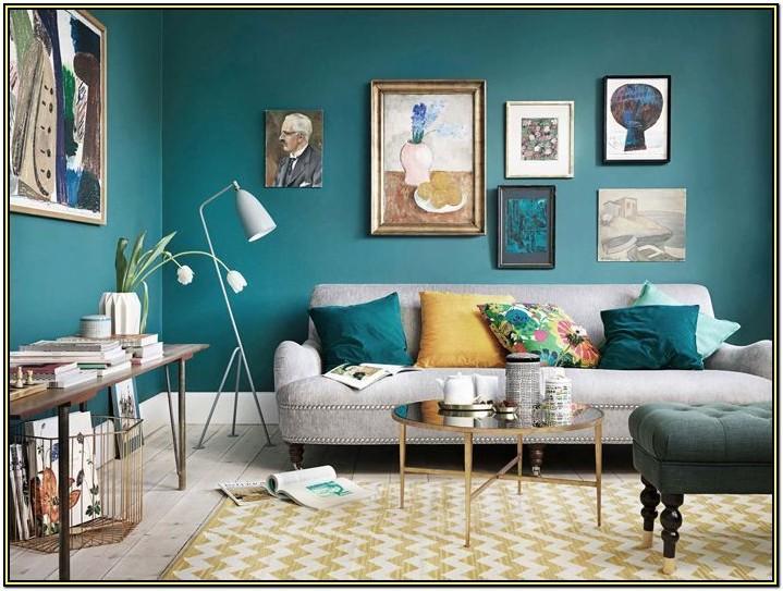 Grey Teal Brown Living Room