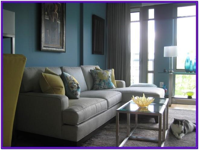 Grey Teal Yellow Living Room