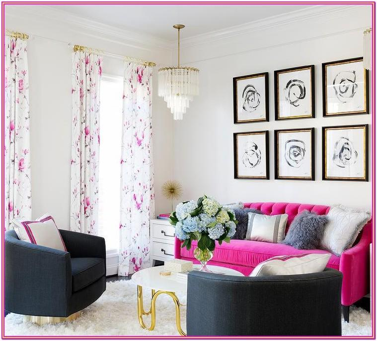 Hot Pink And Grey Living Room
