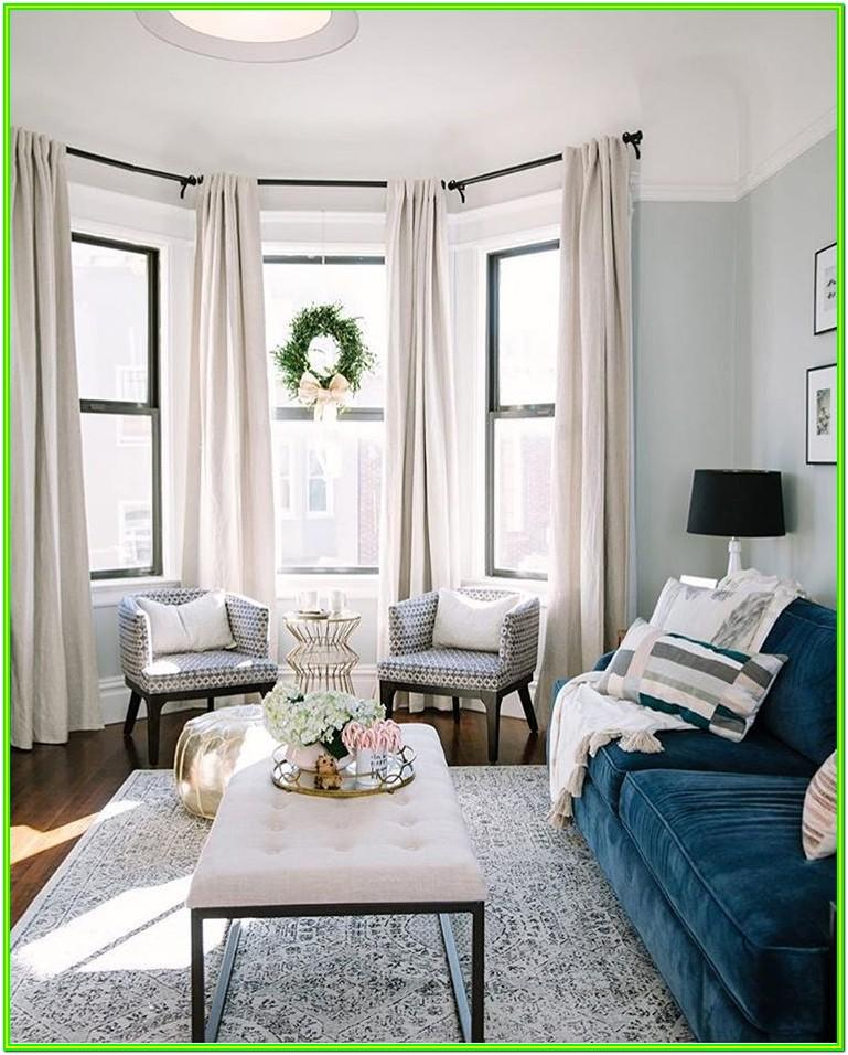 Living Room Bay Window Curtains Ideas