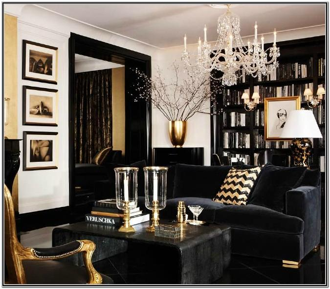 Living Room Black And Gold Wall Decor