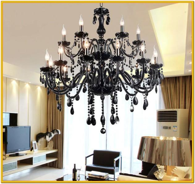 Living Room Black Crystal Chandelier