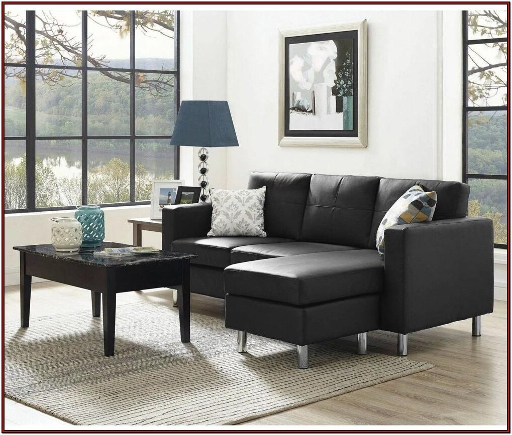 Living Room Black Leather Sofa Set