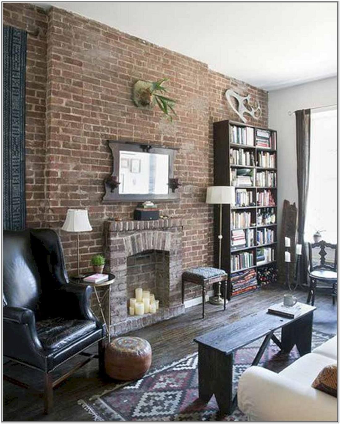 Living Room Brick Wall Painting Design
