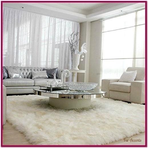 Living Room Gray Fur Rug