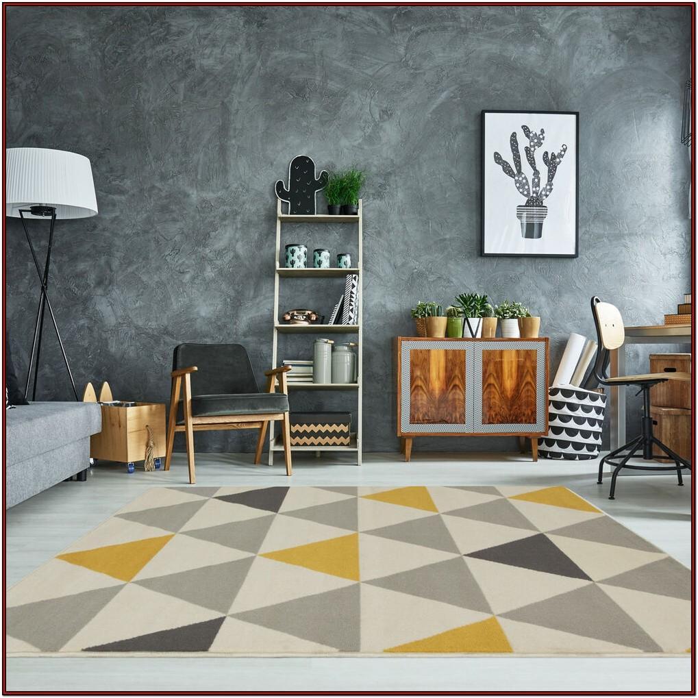 Living Room Grey And Mustard Rug
