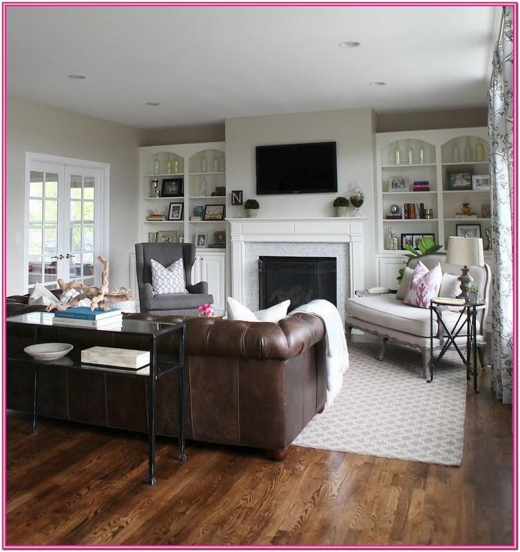 Living Room Grey Floor Brown Couch