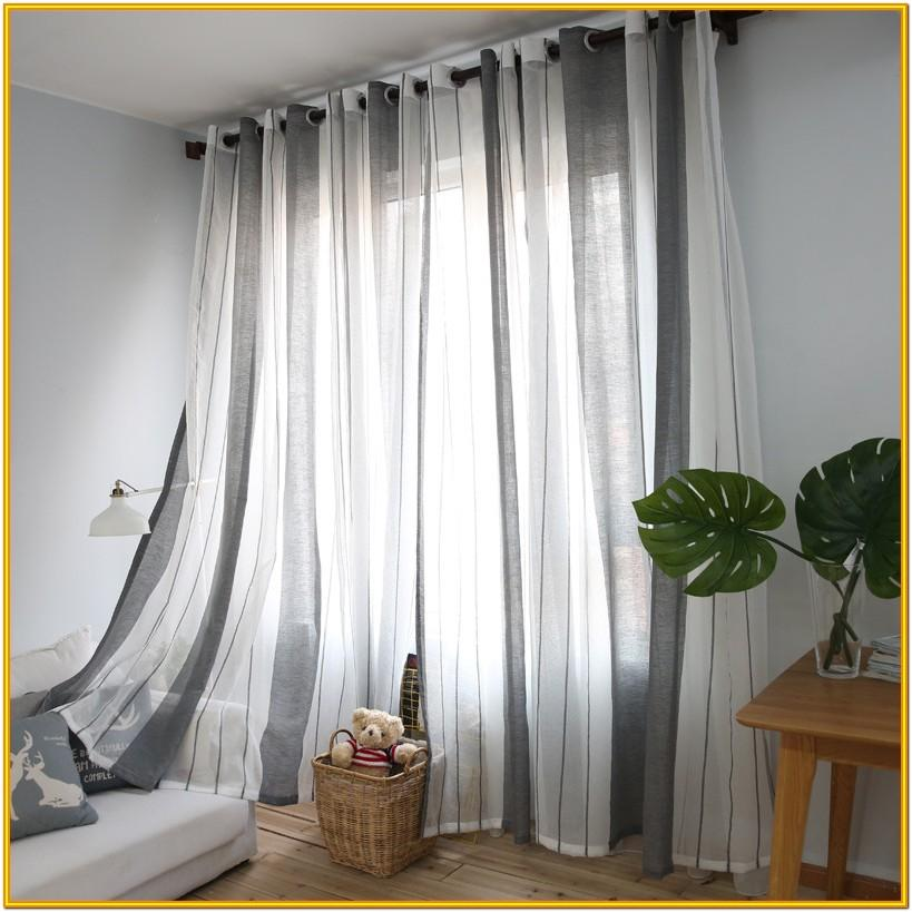 Living Room Grey Linen Curtains