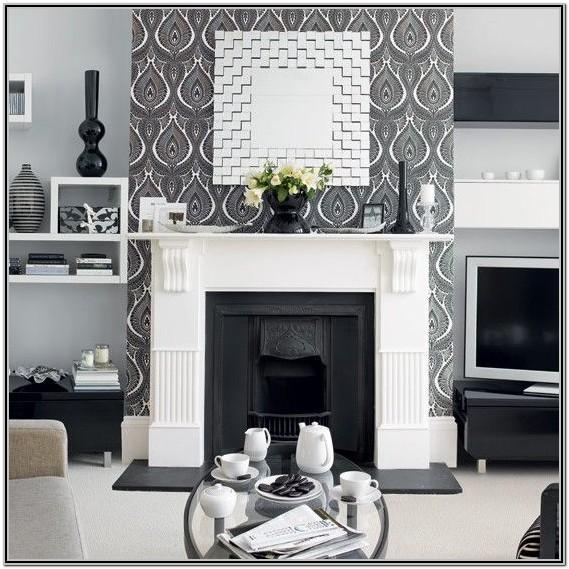 Living Room Grey Wallpaper Designs