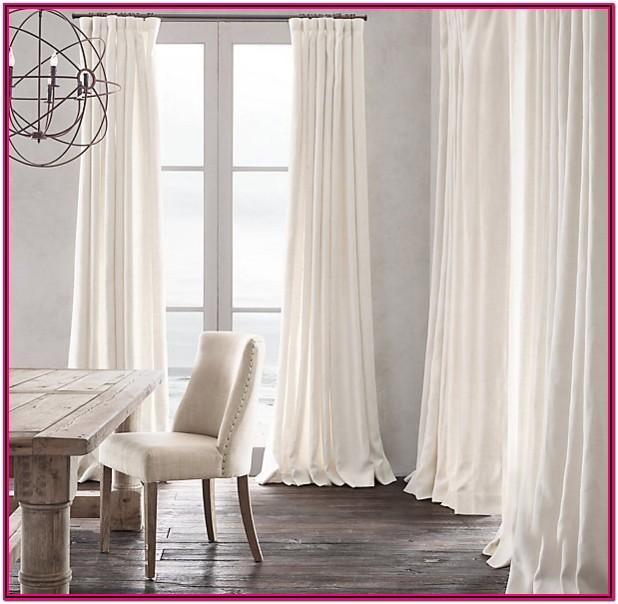 Living Room Long White Curtains