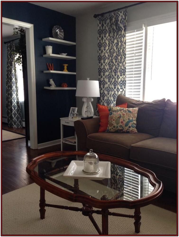 Living Room Navy And Cream Curtains