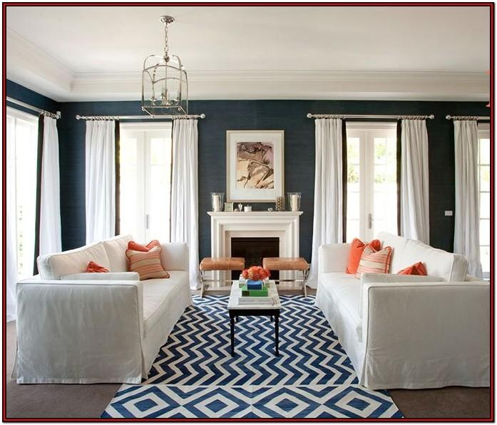 Living Room Navy And White Curtains