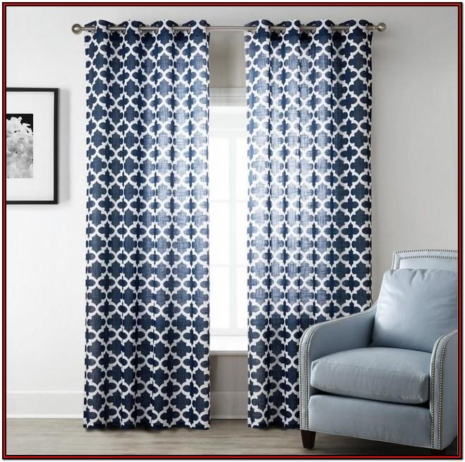 Living Room Navy Patterned Curtains