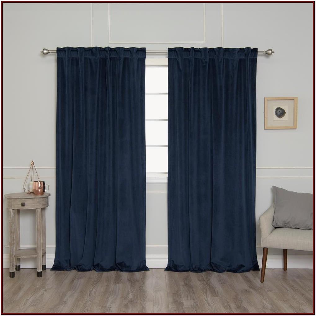 Living Room Navy Velvet Curtains