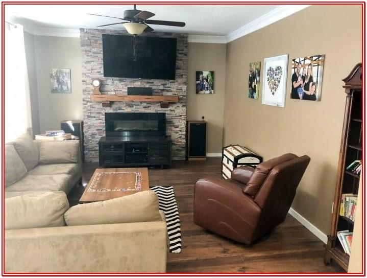 Living Room Painted Shiplap Accent Wall
