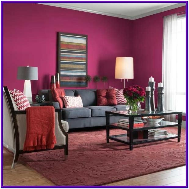 Living Room Pink And Purple Painted Walls