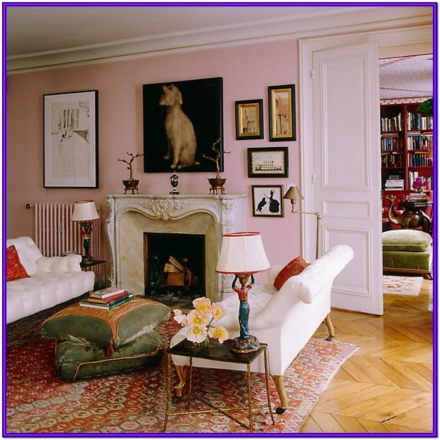 Living Room Pink Wall Paint