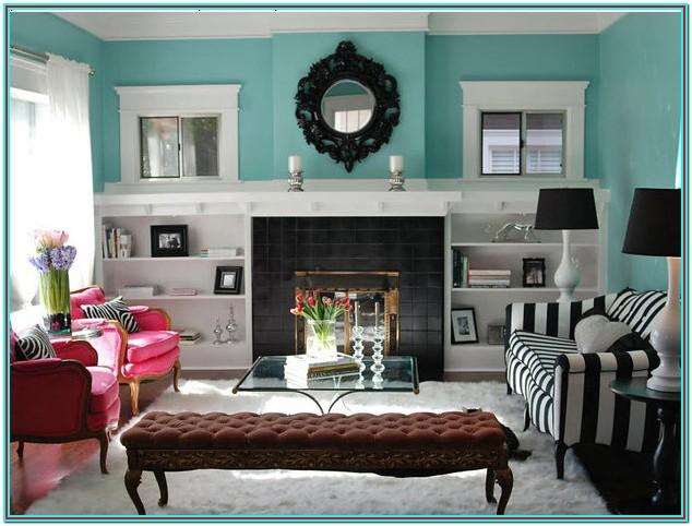 Living Room Red And Teal Color Scheme