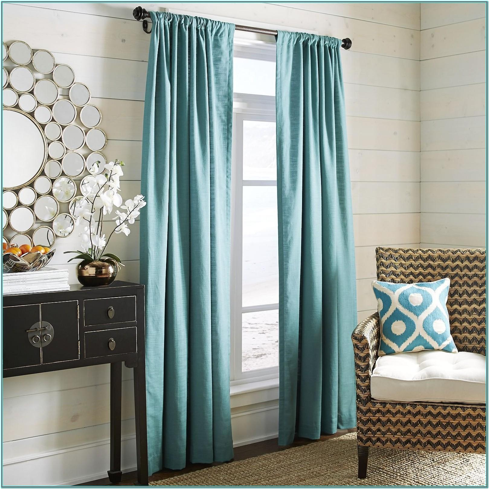 Living Room Teal And Silver Curtains