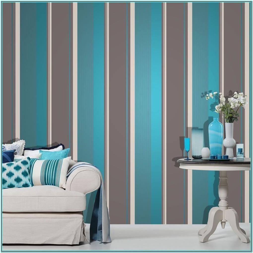 Living Room Teal And Silver Wallpaper