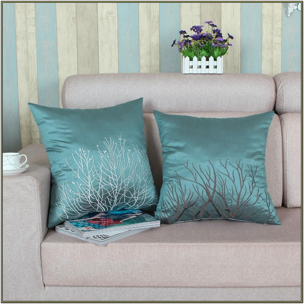 Living Room Teal And Yellow Pillows