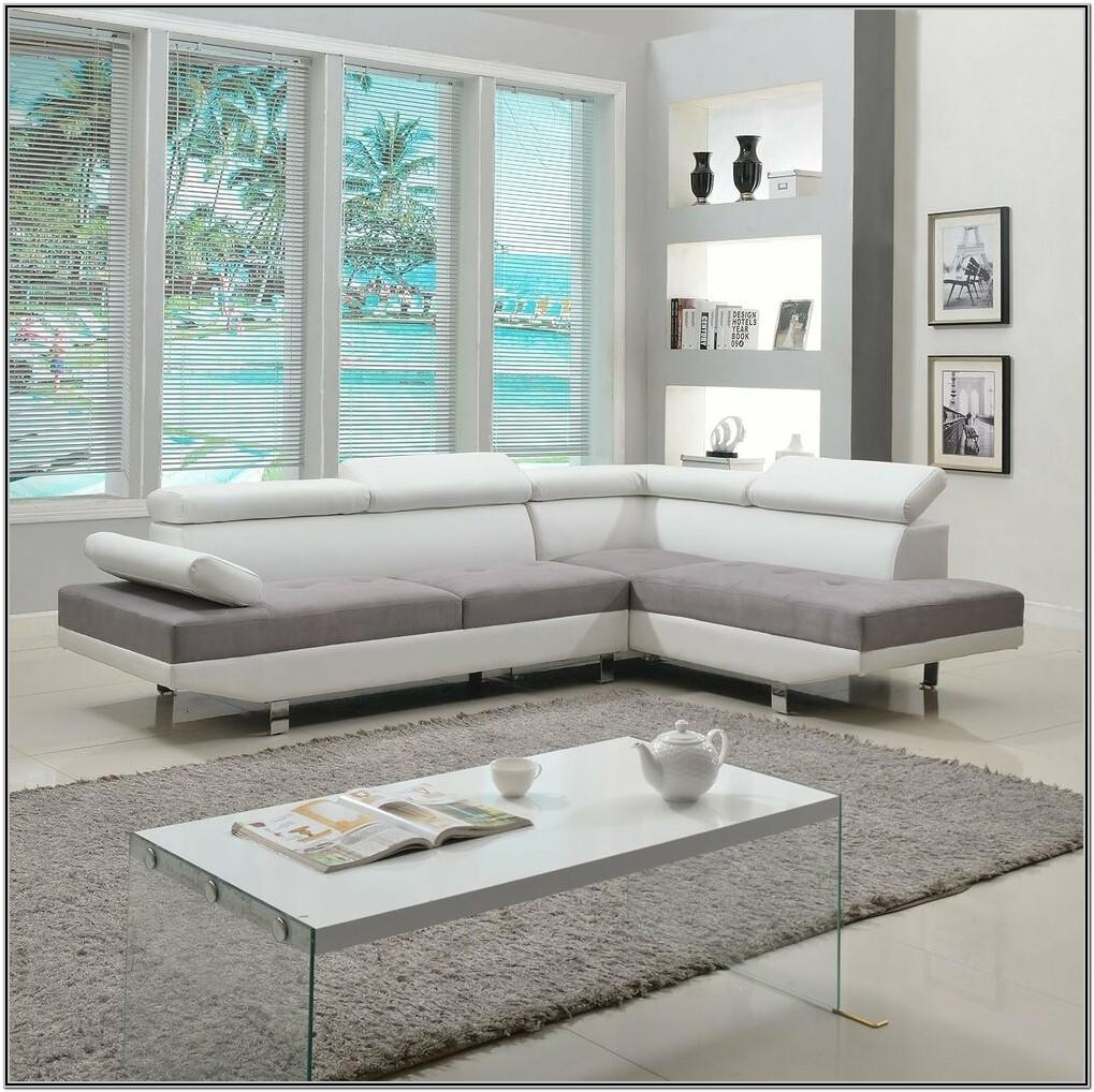Living Room White Leather Sectional
