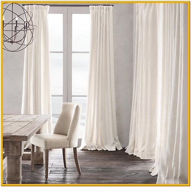 Living Room White Linen Curtains