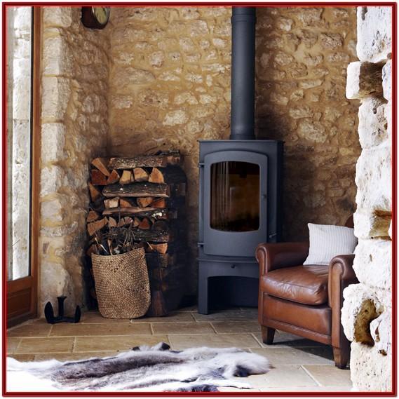 Living Room Wood Stove Decor