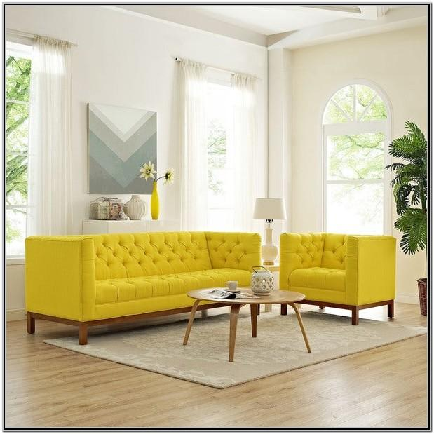 Living Room Yellow Sofa Set