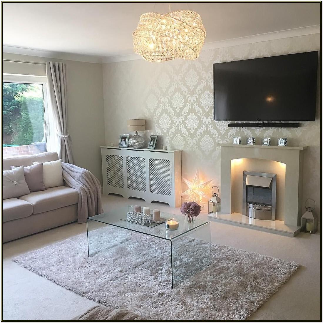 Metallic Grey Wallpaper Living Room Ideas