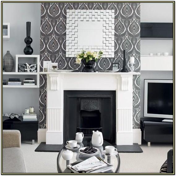 Modern Grey Wallpaper Living Room Ideas