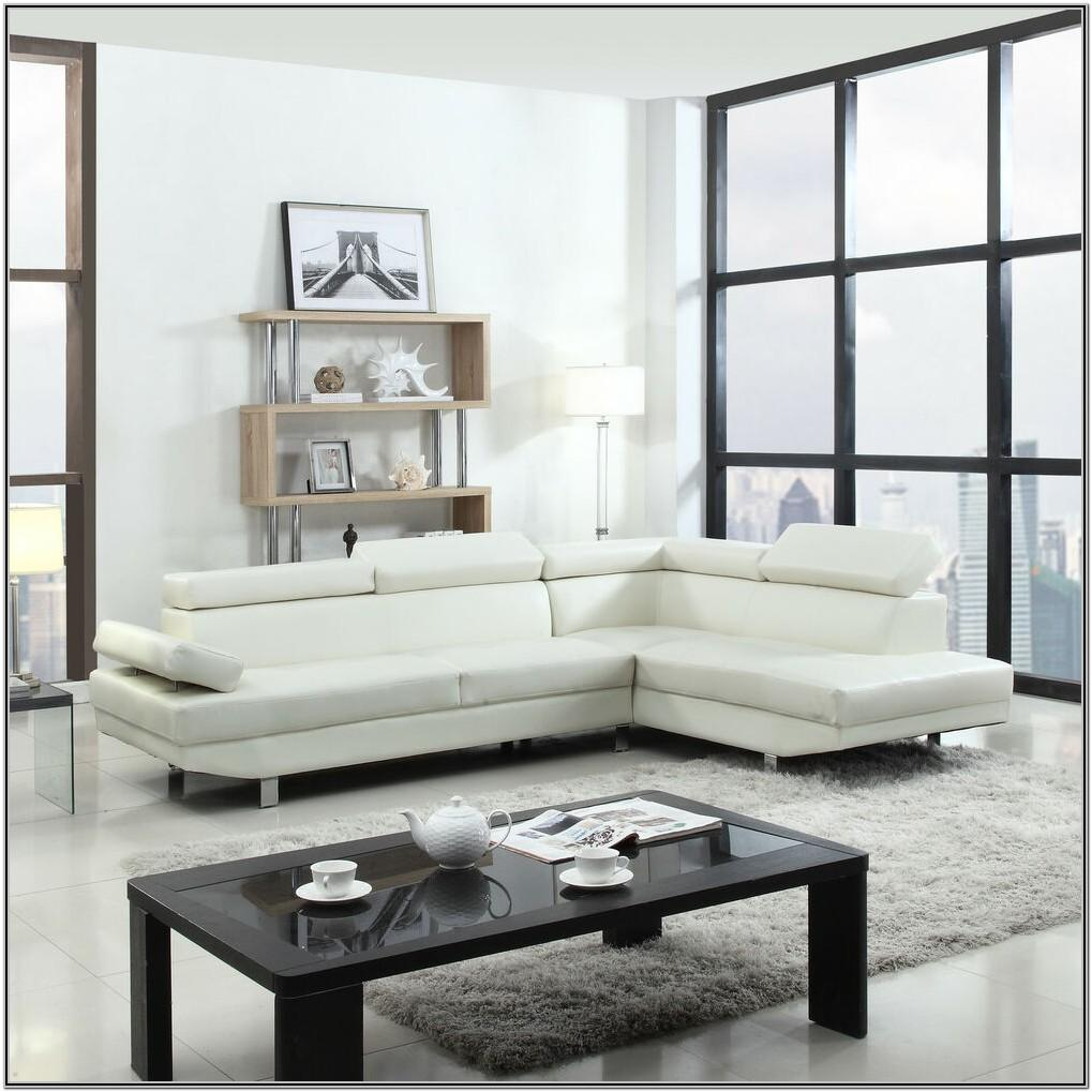 Modern White Leather Living Room Set