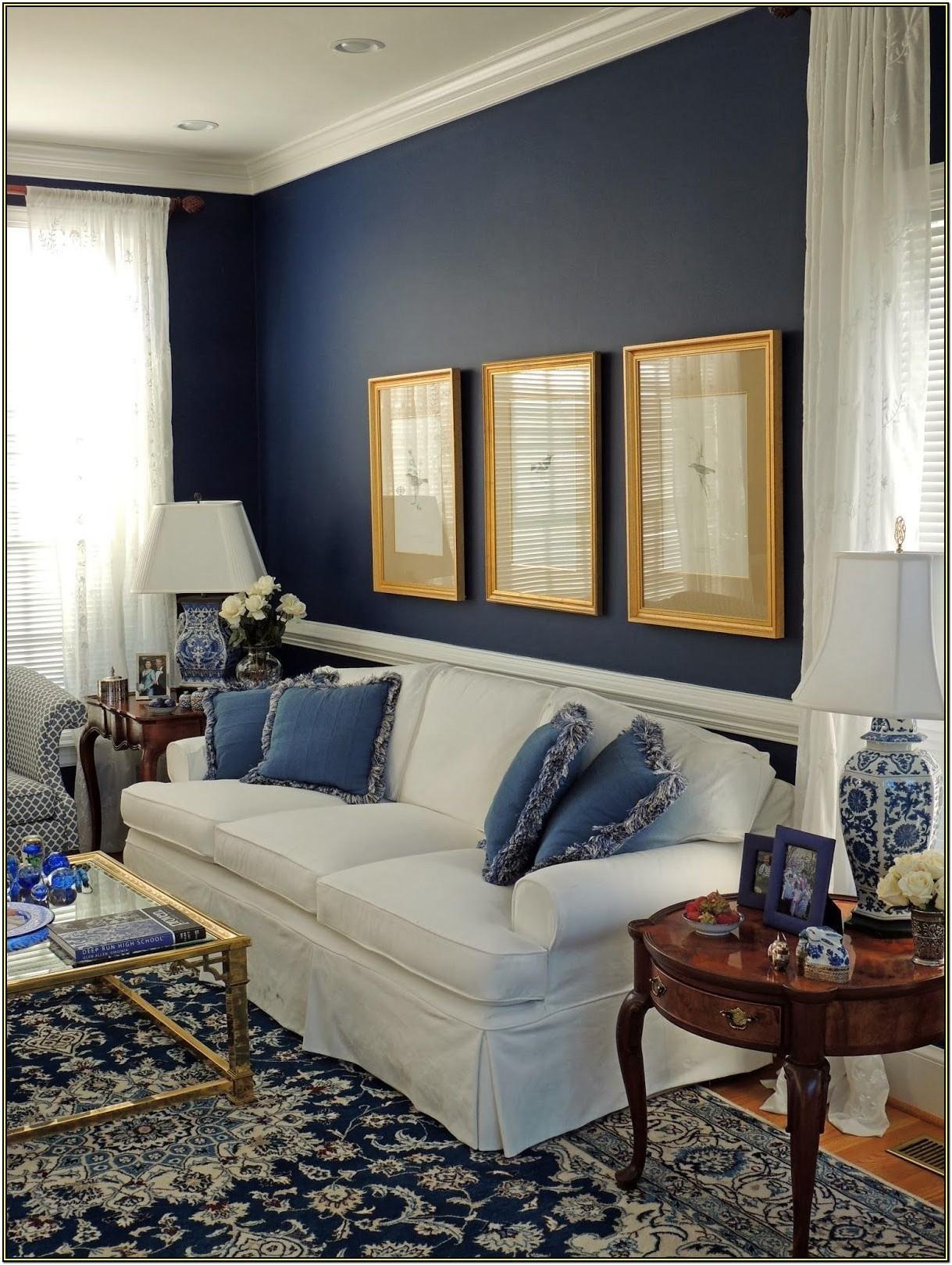 Navy Blue Wall Living Room Ideas