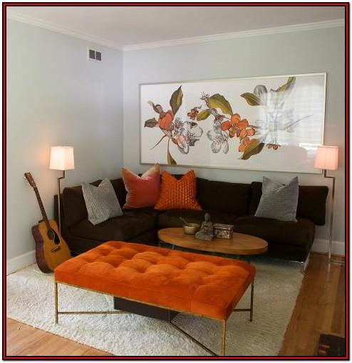 Orange Brown And Grey Living Room