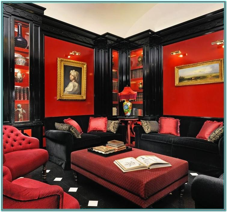 Red Black And Gold Living Room