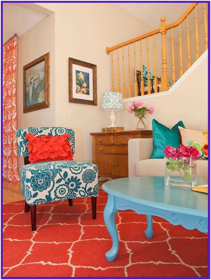 Red Teal Yellow Living Room