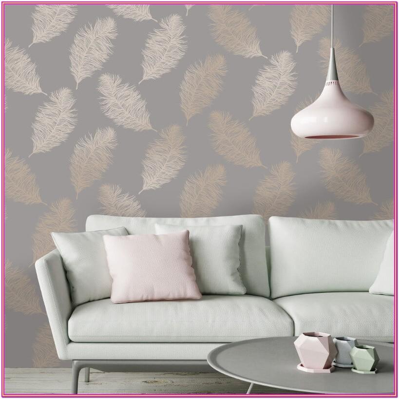 Rose Gold Wallpaper Living Room Ideas