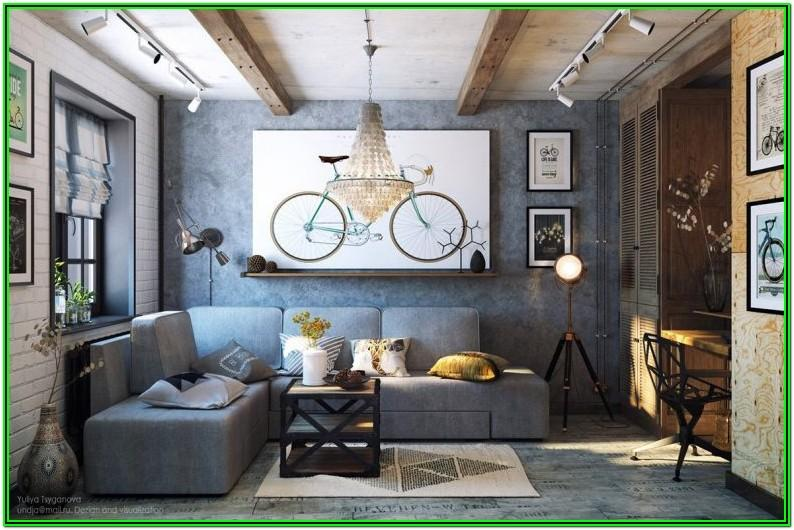 Small Industrial Interior Design Living Room