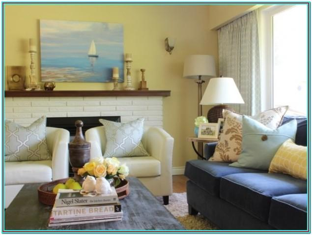 Tan Blue And Yellow Living Room