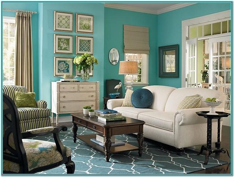 Taupe And Teal Living Room